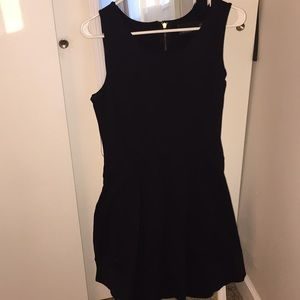 Black A-Line Dress with Exposed Zipper